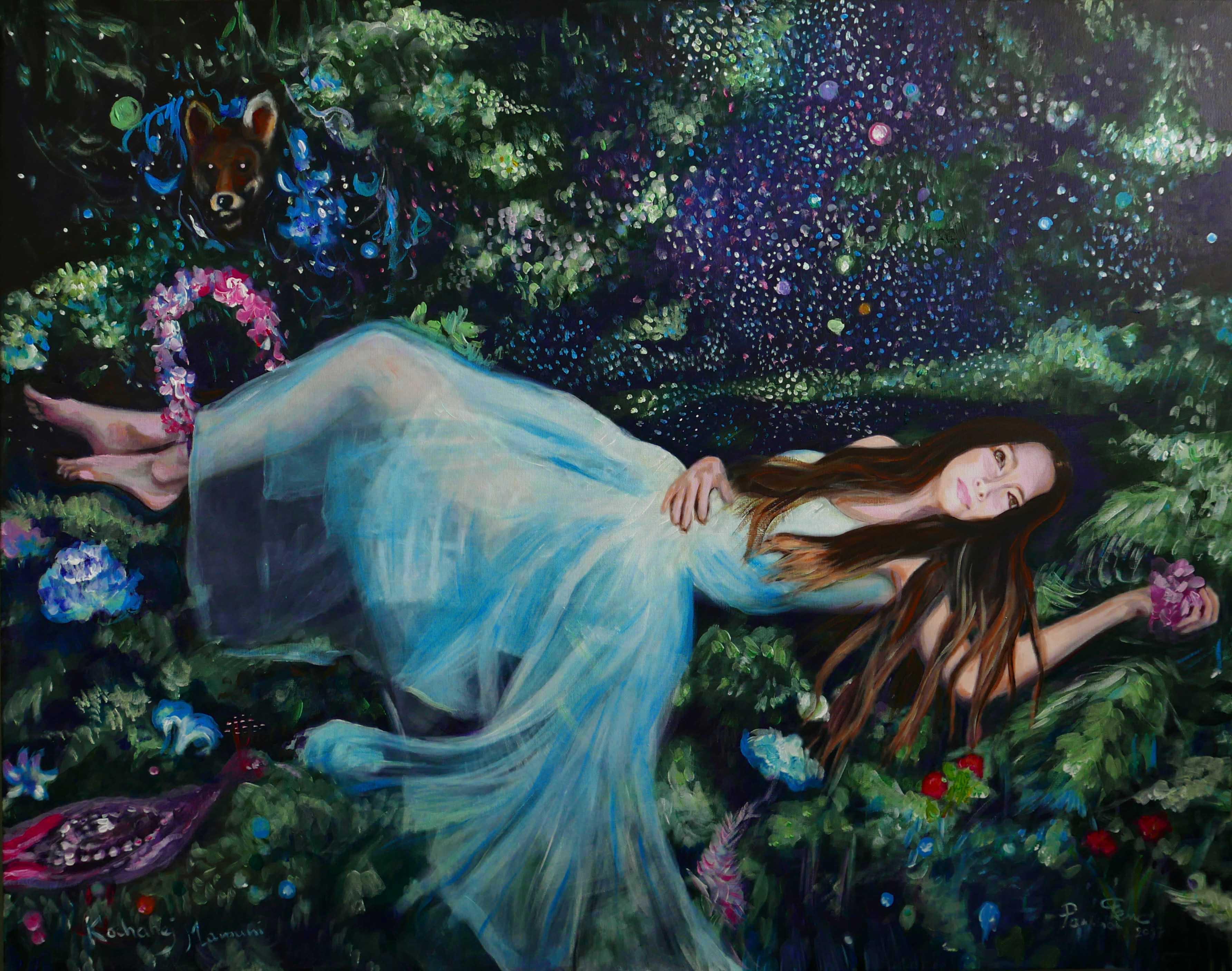 Fox incantation, 92 73 cm, acrylic on canvas, 2017