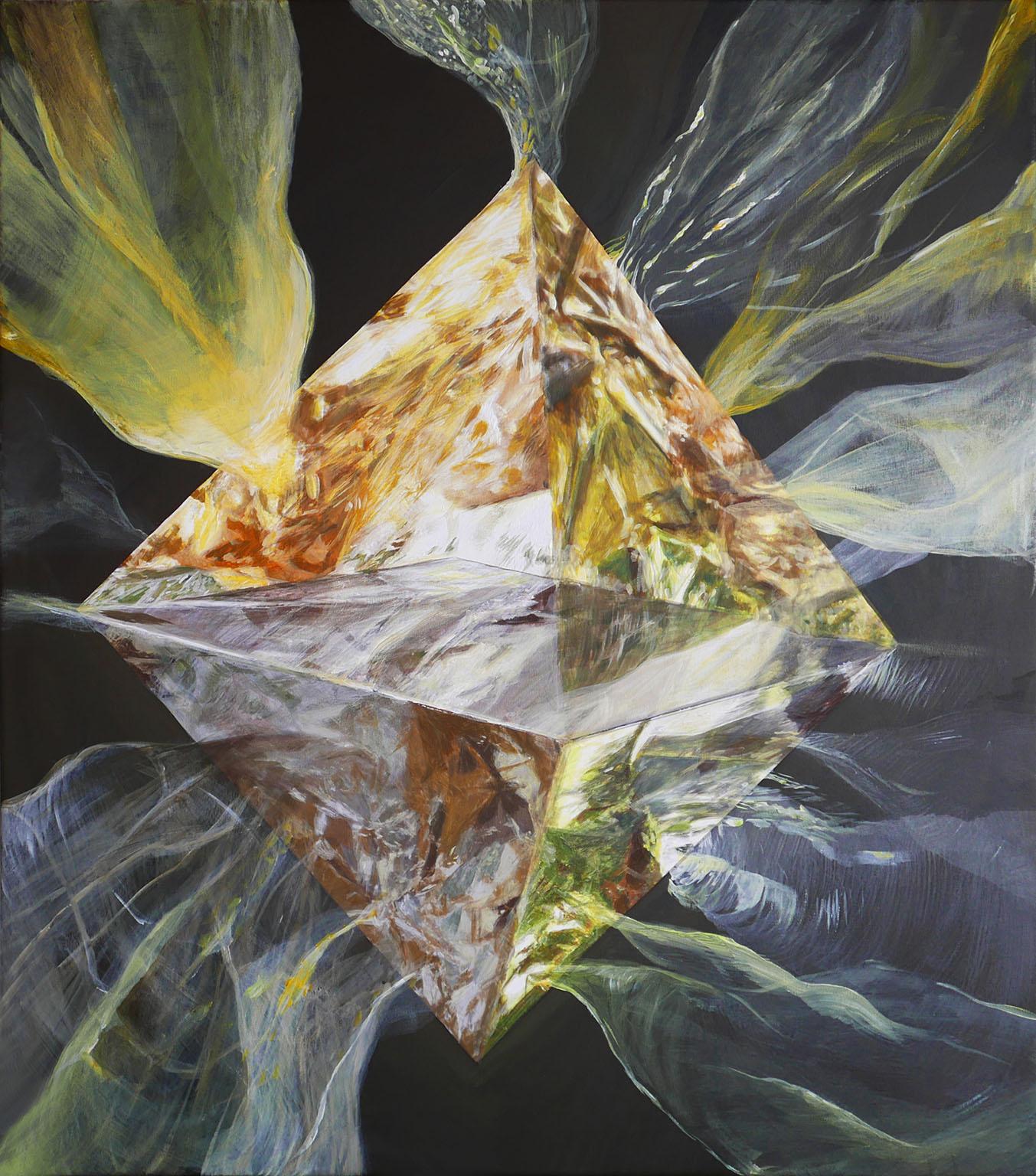 Vic Tandy_ X, 88/ 78cm, acrylic, oil on canvas, 2018