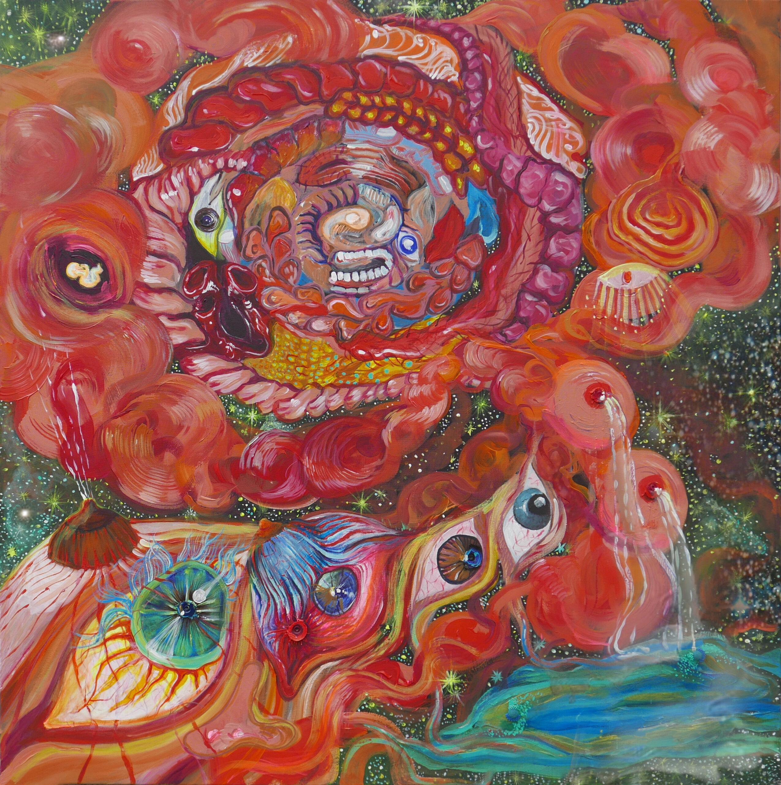 Godmother, 120/ 120 cm, acrylic on canvas, 2021